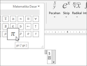 Memilih simbol (Pi) untuk tempat penampung dalam struktur persamaan