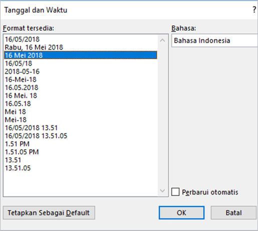 Kotak dialog tanggal dan waktu