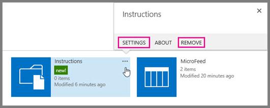 Untuk mengganti nama atau menghapus pustaka dokumen, klik elipsis.