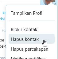 Cuplikan layar opsi Hapus kontak di menu konteks kontak Skype