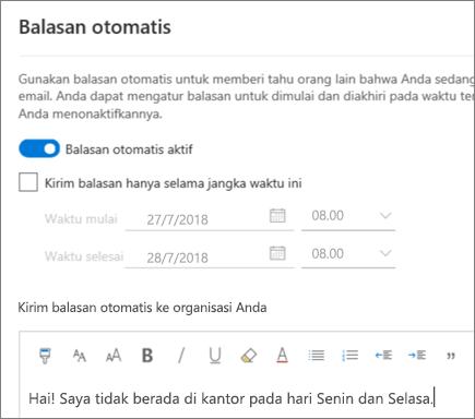 Membuat balasan di luar kantor dalam Outlook di web