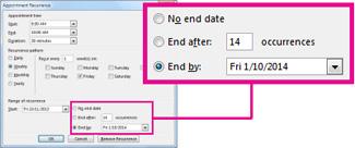 Mengubah opsi tanggal berakhir rapat yang berulang