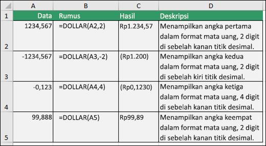 Contoh fungsi DOLLAR