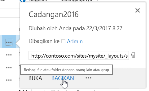 Mengklik Bagikan di file