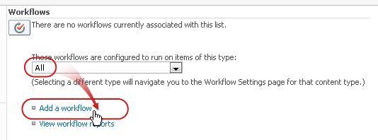 Menambahkan halaman alur kerja dengan semua tipe konten dan menambahkan alur kerja dimunculkan