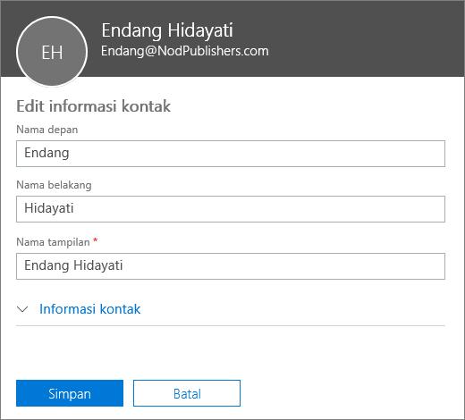 Panel edit kontak tempat Anda dapat mengetik nama depan, nama belakang, dan nama tampilan baru.