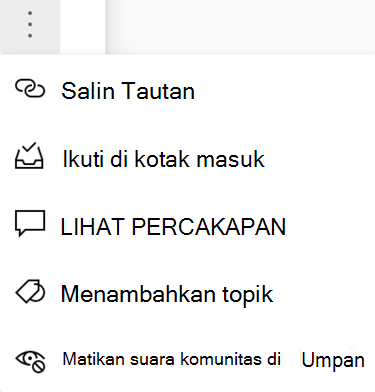 Cuplikan layar memperlihatkan pengguna membisukan komunitas dari percakapan Yammer baru