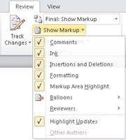Daftar opsi Perlihatkan Markup