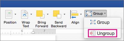Untuk mencairkan pengelompokan, klik Pisahkan grup pada tab Format bentuk atau tab Format gambar.