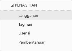 Tangkapan layar menu Tagihan di Pusat Admin Office 365 dengan Langganan yang dipilih.