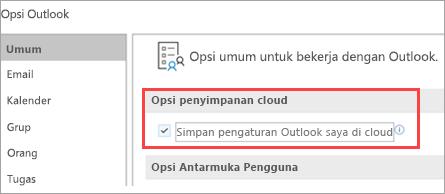 Opsi pengaturan Outlook Perperlihatkan