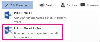 Mengedit di Word Online