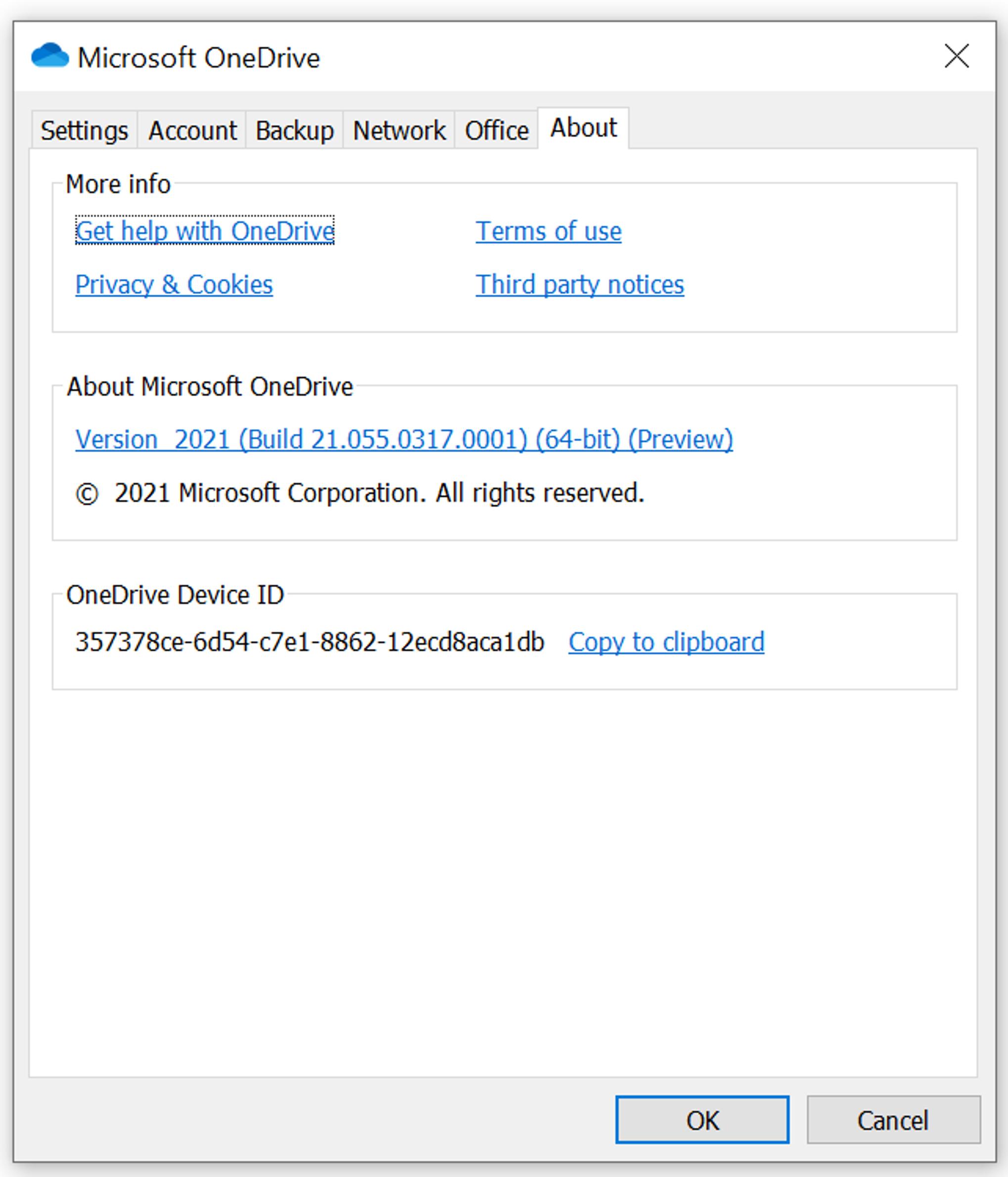 """Memperlihatkan tab Pengaturan yang dipilih untuk OneDrive, dan nomor build dan versi tercantum di bawah ini: """"Tentang Microsoft OneDrive."""""""