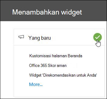 Cuplikan layar menambahkan Widget flyout dalam keamanan & Pusat kepatuhan