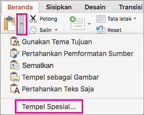Tempel Spesial pada menu Tempel