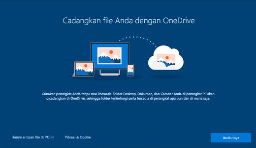 Cuplikan layar halaman OneDrive yang muncul saat Anda pertama kali menggunakan Windows 10