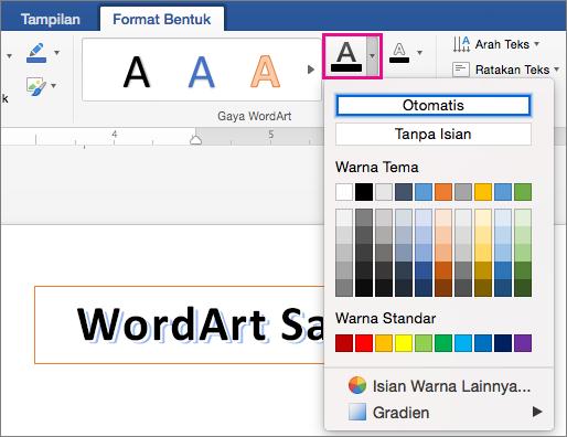 Tab Format Bentuk dengan opsi Isian Teks disorot.
