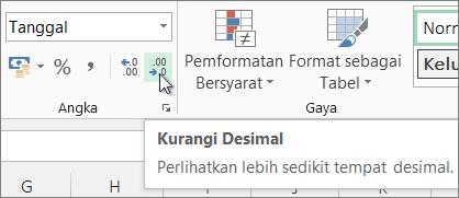 Tombol Kurangi Desimal