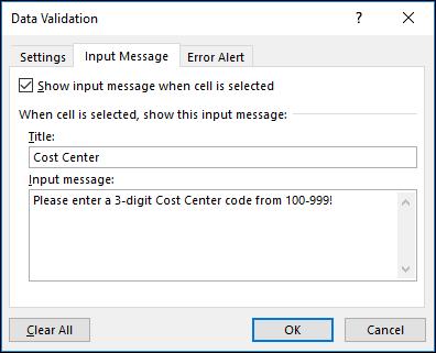 Pengaturan pesan input dalam kotak dialog Validasi Data