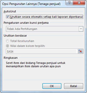 Kotak dialog Opsi Urutkan Lainnya