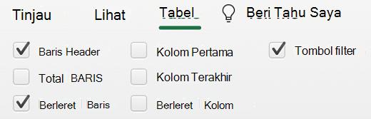 Header tabel dipilih di Excel untuk Mac.