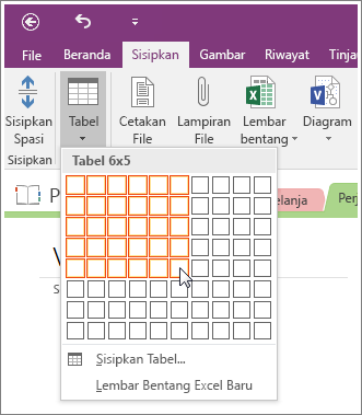Cuplikan layar cara menambahkan tabel di OneNote 2016.