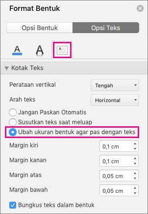 Ubah ukuran teks menjadi bentuk disorot dalam panel Format bentuk.