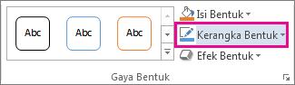 Perintah Kerangka Bentuk pada tab Format Alat Menggambar