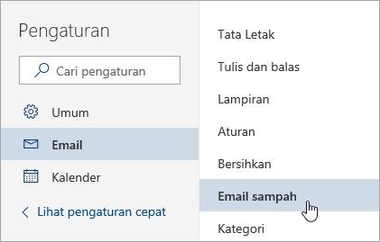 Cuplikan layar menu Pengaturan dengan email Sampah dipilih