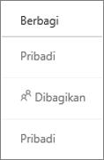 Tampilan status Berbagi di OneDrive for Business