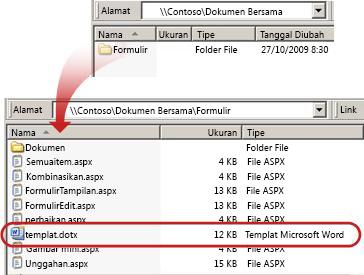 Konten folder Folder di pustaka dokumen