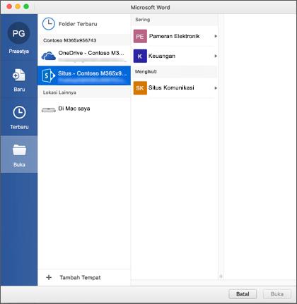 Kotak dialog buka file di Microsoft Word untuk Mac untuk Office 365