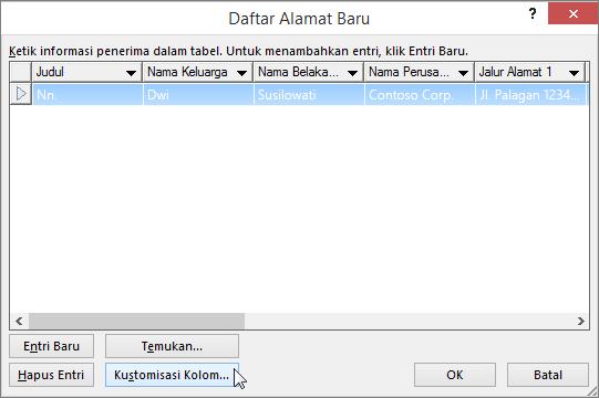 Untuk menambahkan kolom kustom ke milis Anda, klik tombol Kustomisasi kolom.