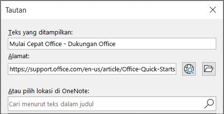 Cuplikan layar dialog tautan di OneNote. Berisi dua bidang yang dapat diisi: Teks untuk menampilkan dan Alamat.
