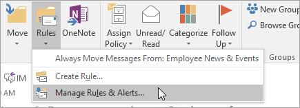 Cuplikan layar tombol Kelola aturan dan pemberitahuan