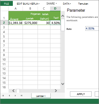 Memasukkan parameter dalam panel yang menggunakannya dalam sel D2