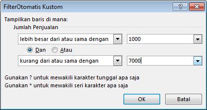 Kotak dialog FilterOtomatis Kustom