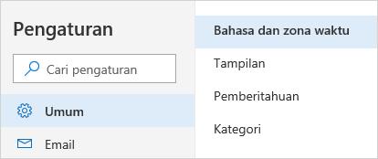Cuplikan layar menu pengaturan waktu dan bahasa
