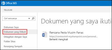 Cuplikan layar dokumen OneDrive for Business yang Anda ikuti di Office 365.