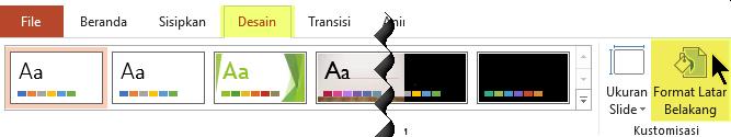 Tombol Format Latar Belakang berada di tab Desain pada Pita di PowerPoint