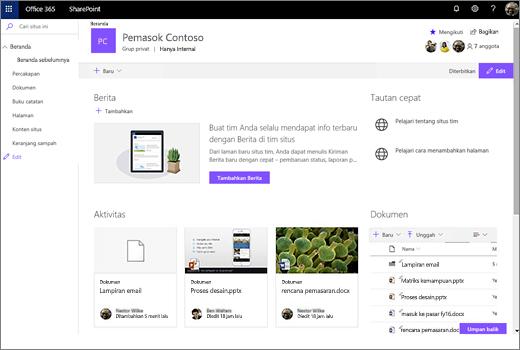 Ini memperlihatkan situs tim setelah Anda menyambungkan grup Office 365 baru dan menyertakan link ke situs tim lama Anda.