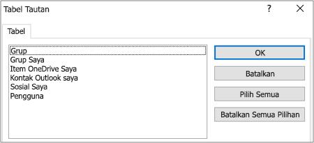 Daftar filter yang sudah ditentukan sebelumnya
