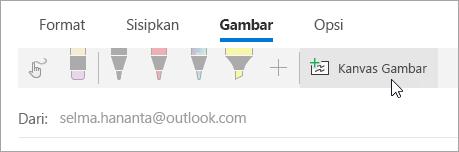 Cuplikan layar tombol kanvas gambar
