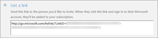 """Cuplikan layar close-up bagian """"Dapatkan link"""" dari kotak dialog """"Tambahkan orang""""."""