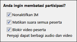 Cuplikan layar opsi rapat yang membatasi partisipasi