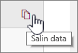 Klik ikon data Salin untuk menyalin data komponen web saat ini