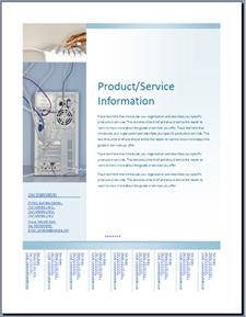 Templat selebaran (desain Biru Lembut) di Office Online