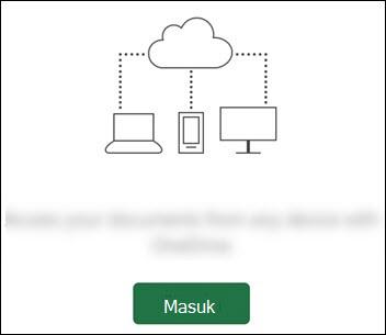 Perangkat berbeda yang tersambung ke awan. Tombol Masuk di bagian bawah.