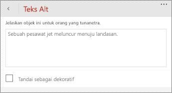 Dialog teks Alt untuk gambar di PowerPoint untuk Windows Phone.