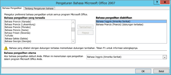 Pengaturan bahasa di Office 2007